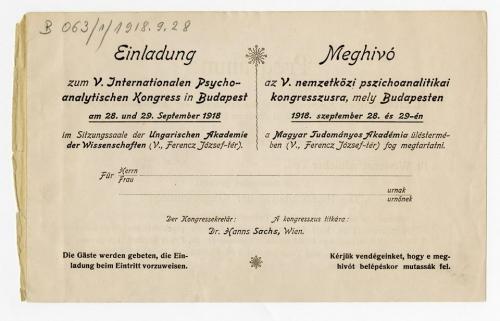 Az 1918-as budapesti pszichoanalitikus kongresszus emlékezete