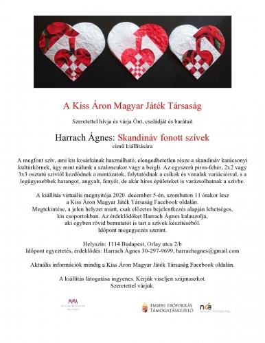 Tárlatvezetés Harrach Ágnes: Skandináv fonott szívek című kiállításán a Kiss Áron Magyar Játék Társa