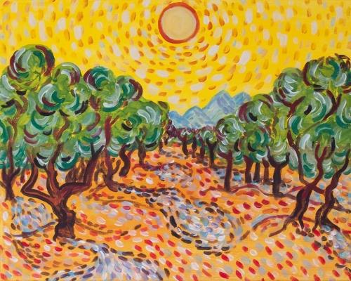 Olajfák sárga égbolttal / PaintCocktail Junior (10-17 éveseknek)