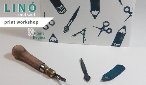 Linómetszet print workshop a Fiókban
